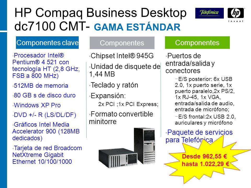 HP Compaq Business Desktop dc7100 CMT- GAMA ESTÁNDAR Procesador Intel® Pentium® 4 521 con tecnología HT (2,8 GHz, FSB a 800 MHz) 512MB de memoria 80 G