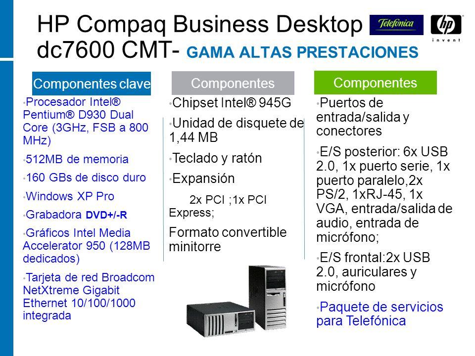 HP Compaq Business Desktop dc7600 CMT- GAMA ALTAS PRESTACIONES Procesador Intel® Pentium® D930 Dual Core (3GHz, FSB a 800 MHz) 512MB de memoria 160 GB