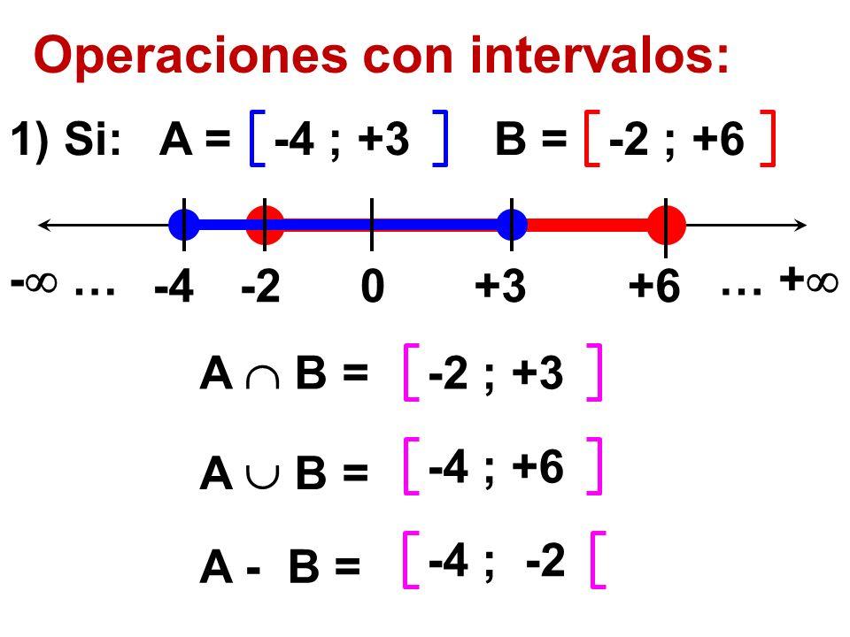 Operaciones con intervalos: 0-4-2+3+6 -4 ; +3-2 ; +6A =B = - …… + 1) Si: -2 ; +3 A B = -4 ; +6 A - B = -4 ; -2