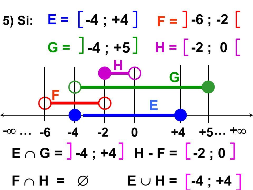 -4 ; +4 -6 ; -2 E = F = 5) Si: -4 ; +5 -2 ; 0G =H = 0-4-2+5 - …… + +4-6 -4 ; +4 E G = F H = -2 ; 0H - F = E H = -4 ; +4 E F G H