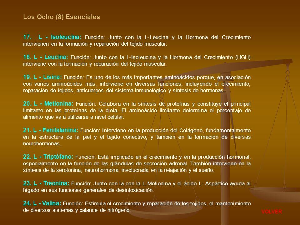 Los Ocho (8) Esenciales 17. L - Isoleucina: Función: Junto con la L-Leucina y la Hormona del Crecimiento intervienen en la formación y reparación del