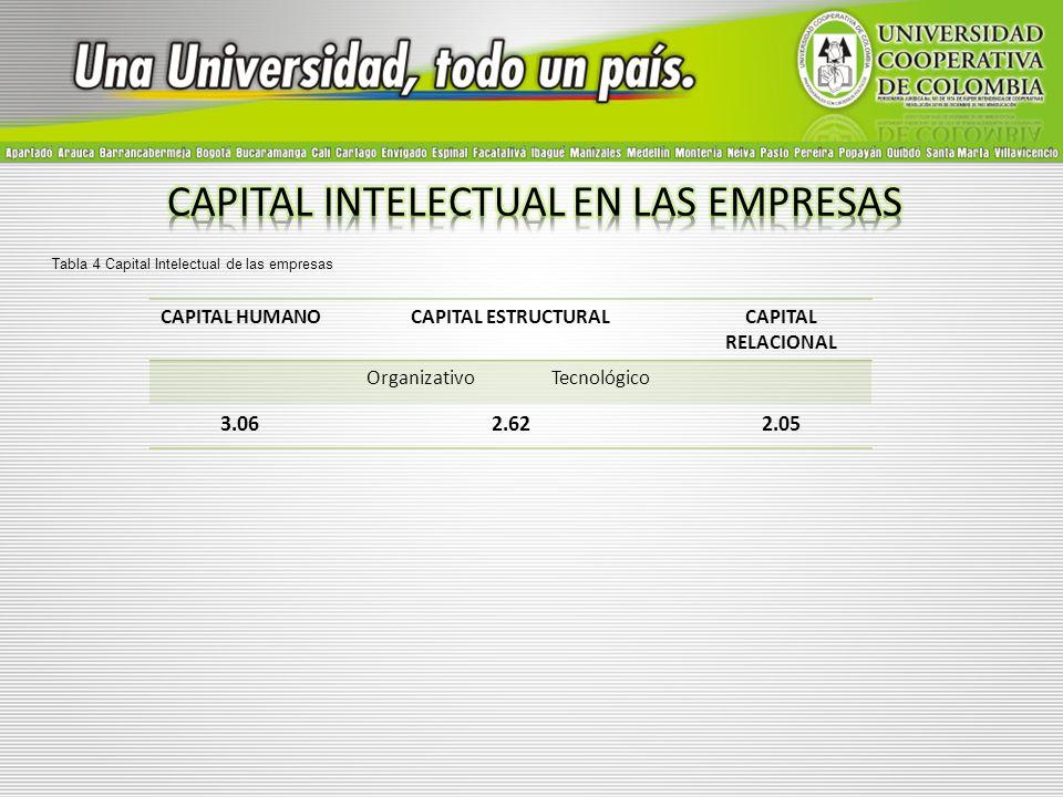CAPITAL HUMANOCAPITAL ESTRUCTURALCAPITAL RELACIONAL OrganizativoTecnológico 3.062.622.05 Tabla 4 Capital Intelectual de las empresas