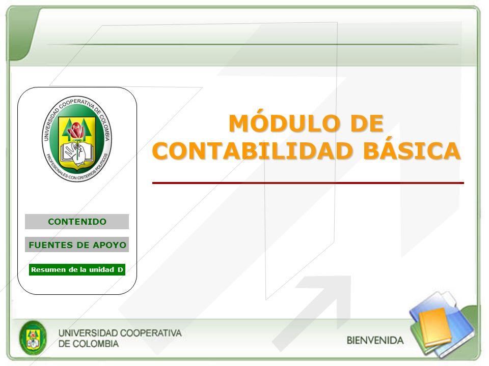 MÓDULO DE CONTABILIDAD BÁSICA CONTENIDO FUENTES DE APOYO Resumen de la unidad D