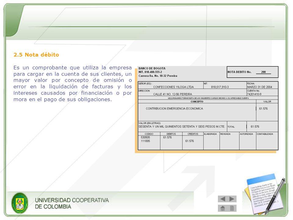 2.5 Nota débito Es un comprobante que utiliza la empresa para cargar en la cuenta de sus clientes, un mayor valor por concepto de omisión o error en l