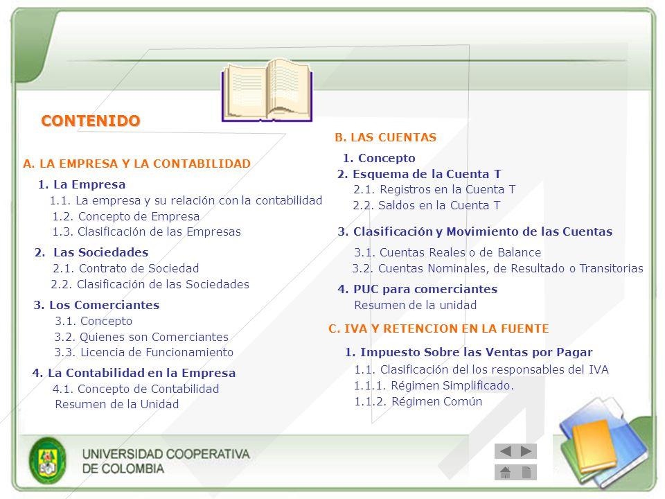 CONTENIDO A. LA EMPRESA Y LA CONTABILIDAD 1. La Empresa 1.2. Concepto de Empresa 1.3. Clasificación de las Empresas 2. Las Sociedades 2.1. Contrato de
