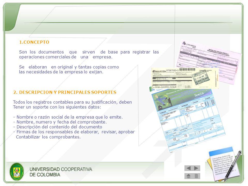 Los principales soportes de contabilidad son: - Recibos de caja - Factura de compraventa - Cheque.