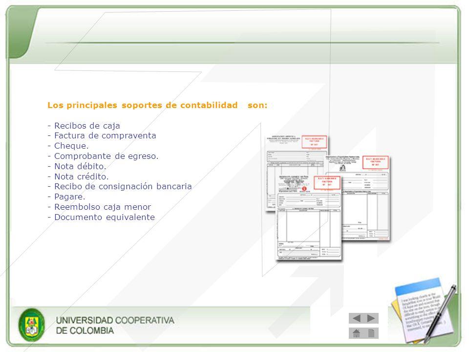 Los principales soportes de contabilidad son: - Recibos de caja - Factura de compraventa - Cheque. - Comprobante de egreso. - Nota débito. - Nota créd