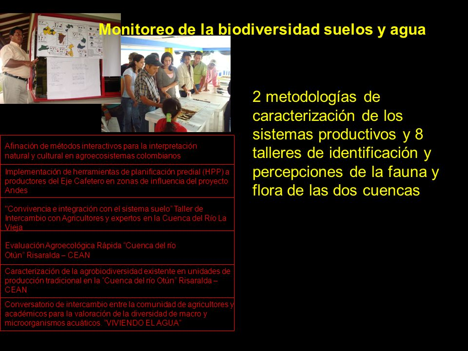 Evaluación Agroecológica Rápida Cuenca del río Otún Risaralda – CEAN Caracterización de la agrobiodiversidad existente en unidades de producción tradicional en la Cuenca del río Otún Risaralda – CEAN Implementación de herramientas de planificación predial (HPP) a productores del Eje Cafetero en zonas de influencia del proyecto Andes Afinación de métodos interactivos para la interpretación natural y cultural en agroecosistemas colombianos Convivencia e integración con el sistema suelo Taller de Intercambio con Agricultores y expertos en la Cuenca del Río La Vieja Monitoreo de la biodiversidad suelos y agua 2 metodologías de caracterización de los sistemas productivos y 8 talleres de identificación y percepciones de la fauna y flora de las dos cuencas Conversatorio de intercambio entre la comunidad de agricultores y académicos para la valoración de la diversidad de macro y microorganismos acuáticos.