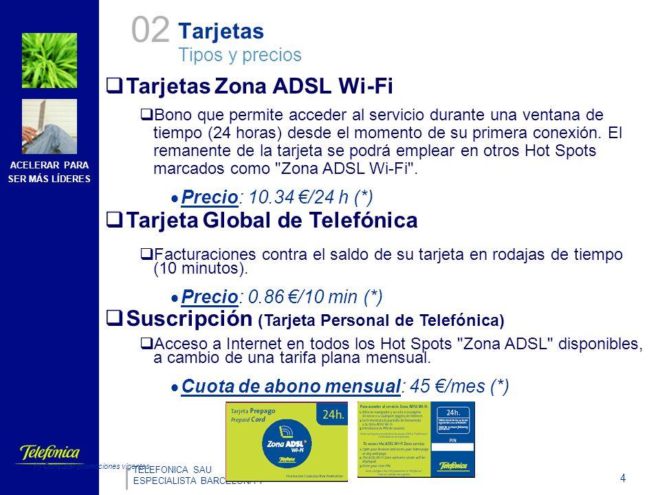 ACELERAR PARA SER MÁS LÍDERES 4 TELEFONICA SAU ESPECIALISTA BARCELONA I Tarjetas Zona ADSL Wi-Fi Bono que permite acceder al servicio durante una ventana de tiempo (24 horas) desde el momento de su primera conexión.