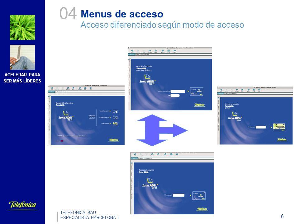 ACELERAR PARA SER MÁS LÍDERES 6 TELEFONICA SAU ESPECIALISTA BARCELONA I Menus de acceso Acceso diferenciado según modo de acceso 04