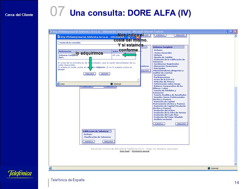 Cerca del Cliente Telefónica de España 14 Una consulta: DORE ALFA (IV) 07 Nos indica el coste del mismo. Y si estamos conforme… …lo adquirimos