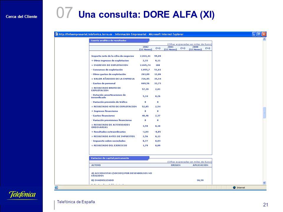Cerca del Cliente Telefónica de España 21 Una consulta: DORE ALFA (XI) 07