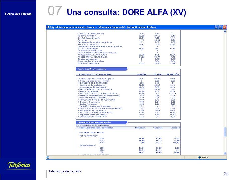 Cerca del Cliente Telefónica de España 25 Una consulta: DORE ALFA (XV) 07