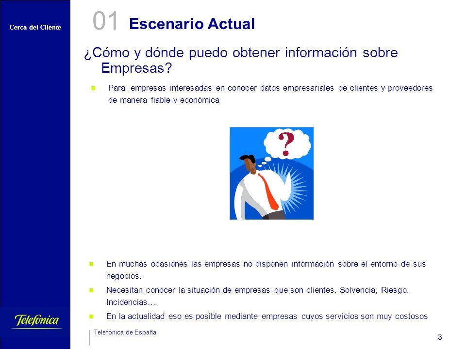 Cerca del Cliente Telefónica de España 3 Escenario Actual ¿Cómo y dónde puedo obtener información sobre Empresas? 01 Para empresas interesadas en cono