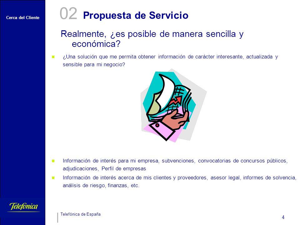 Cerca del Cliente Telefónica de España 4 Propuesta de Servicio Realmente, ¿es posible de manera sencilla y económica? 02 ¿Una solución que me permita