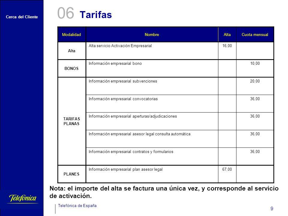 Cerca del Cliente Telefónica de España 9 ModalidadNombreAltaCuota mensual Alta Alta servicio Activación Empresarial16,00 BONOS Información empresarial