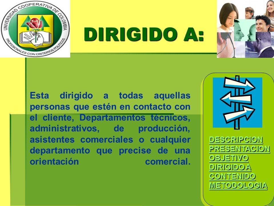 DESCRIPCION PRESENTACION OBJETIVO DIRIGIDO A DIRIGIDO A CONTENIDO METODOLOGIA DESCRIPCION PRESENTACION OBJETIVO DIRIGIDO A DIRIGIDO A CONTENIDO METODO