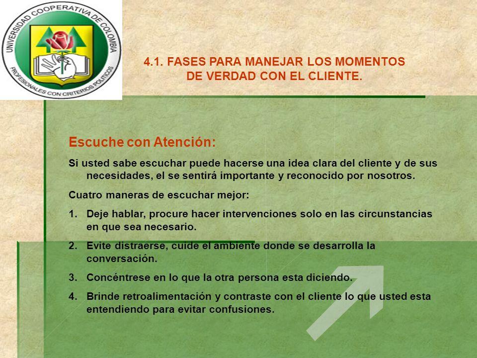 4.1.FASES PARA MANEJAR LOS MOMENTOS DE VERDAD CON EL CLIENTE.