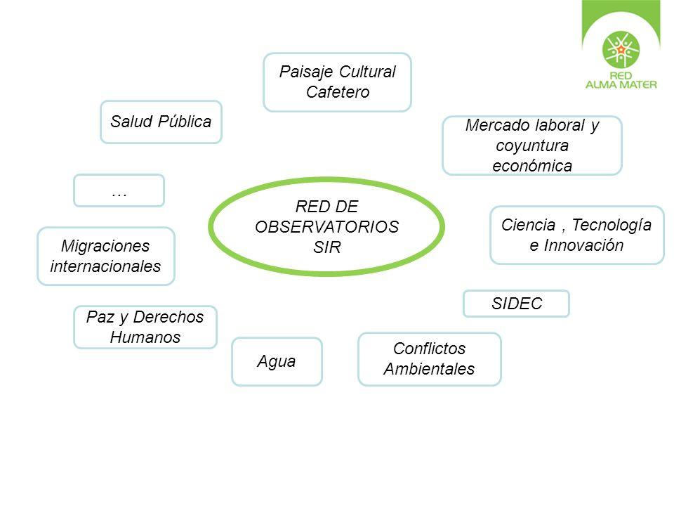 Salud Pública Paisaje Cultural Cafetero Mercado laboral y coyuntura económica Ciencia, Tecnología e Innovación SIDEC Agua Paz y Derechos Humanos Confl