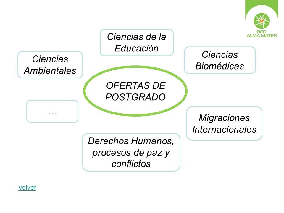 Ciencias de la Educación Migraciones Internacionales Ciencias Ambientales Derechos Humanos, procesos de paz y conflictos Ciencias Biomédicas … OFERTAS