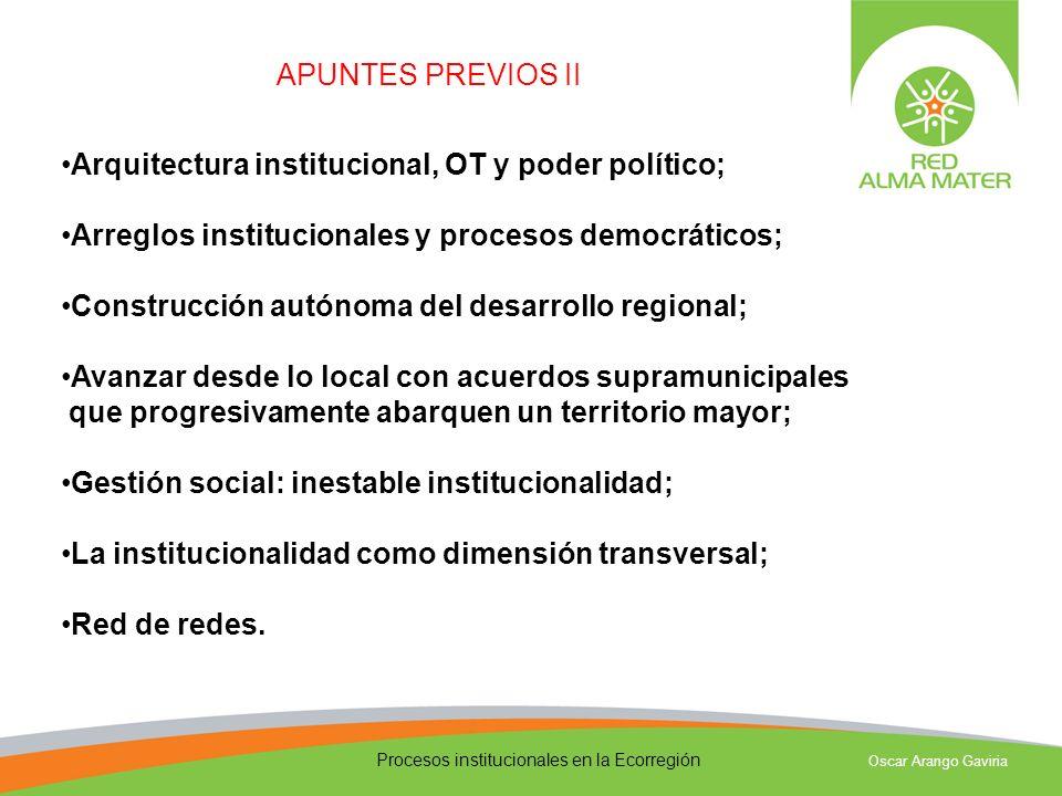 Procesos institucionales en la Ecorregión Oscar Arango Gaviria Las instituciones pueden ayudar a transformar la realidad, pero no la reemplazan