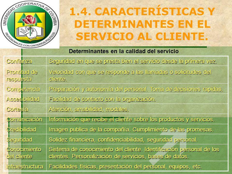 1.4. CARACTERÍSTICAS Y DETERMINANTES EN EL SERVICIO AL CLIENTE. Determinantes en la calidad del servicioConfianza Seguridad en que se presta bien el s