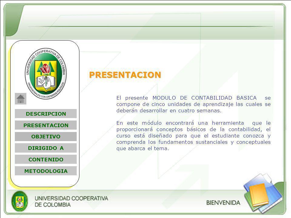 Nombre Módulo PRESENTACION El presente MODULO DE CONTABILIDAD BASICA se compone de cinco unidades de aprendizaje las cuales se deberán desarrollar en cuatro semanas.