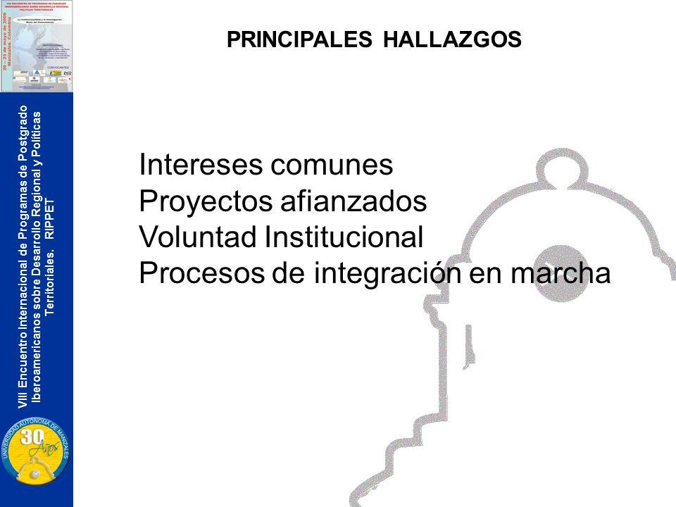 VIII Encuentro Internacional de Programas de Postgrado Iberoamericanos sobre Desarrollo Regional y Políticas Territoriales. RIPPET PRINCIPALES HALLAZG