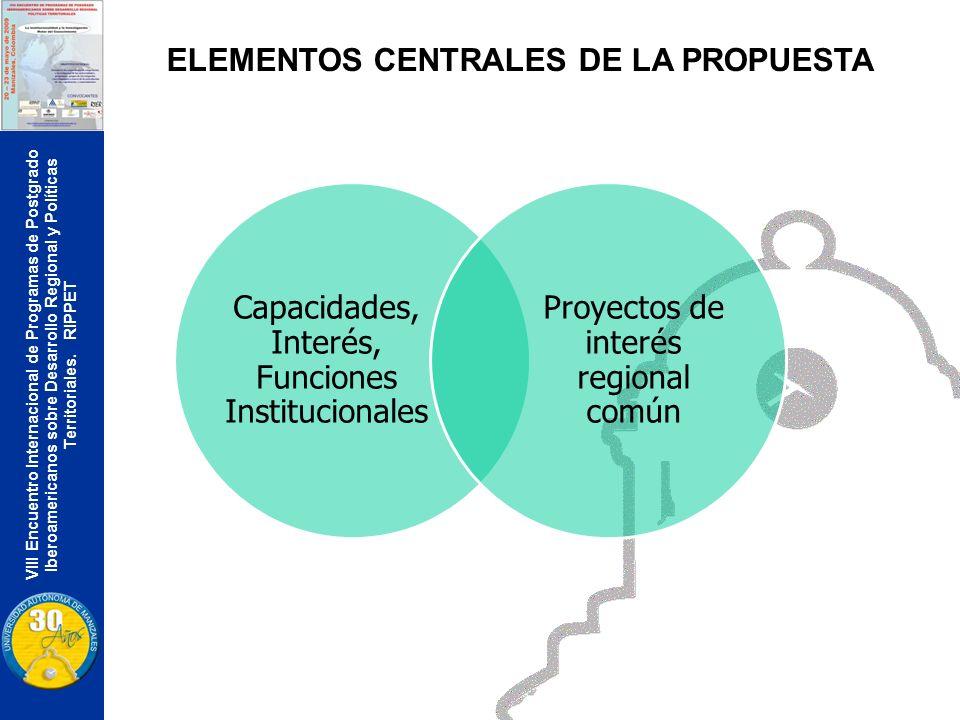VIII Encuentro Internacional de Programas de Postgrado Iberoamericanos sobre Desarrollo Regional y Políticas Territoriales. RIPPET ELEMENTOS CENTRALES