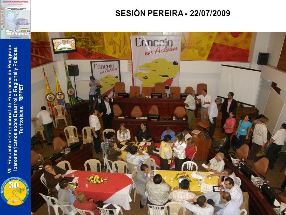 VIII Encuentro Internacional de Programas de Postgrado Iberoamericanos sobre Desarrollo Regional y Políticas Territoriales. RIPPET SESIÓN PEREIRA - 22