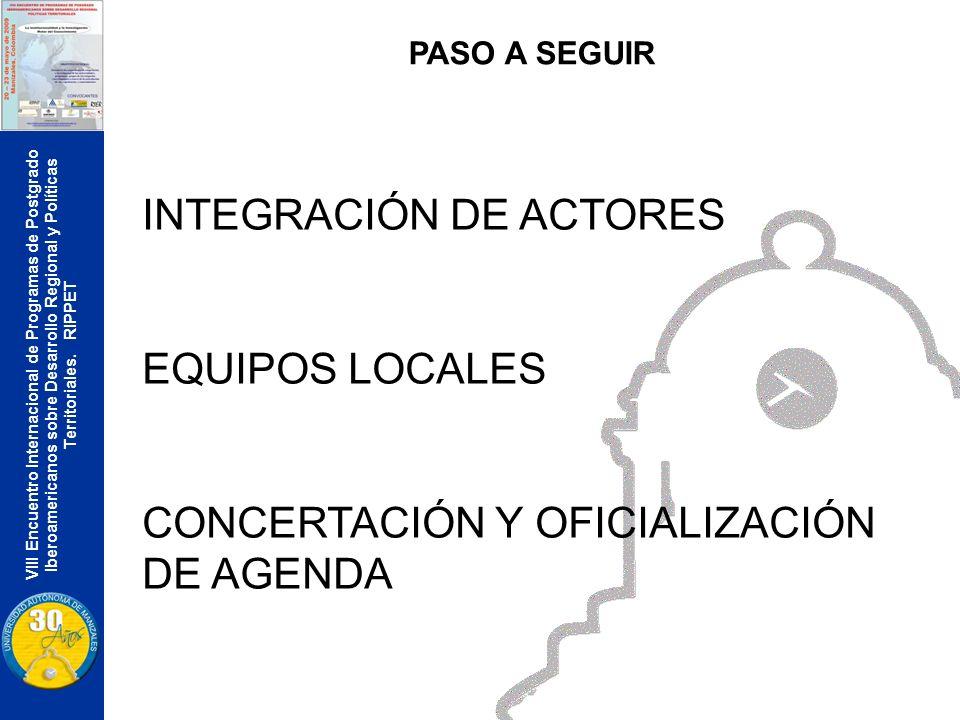VIII Encuentro Internacional de Programas de Postgrado Iberoamericanos sobre Desarrollo Regional y Políticas Territoriales. RIPPET PASO A SEGUIR INTEG