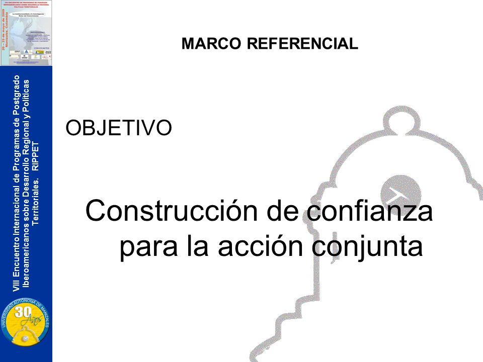 VIII Encuentro Internacional de Programas de Postgrado Iberoamericanos sobre Desarrollo Regional y Políticas Territoriales. RIPPET MARCO REFERENCIAL O