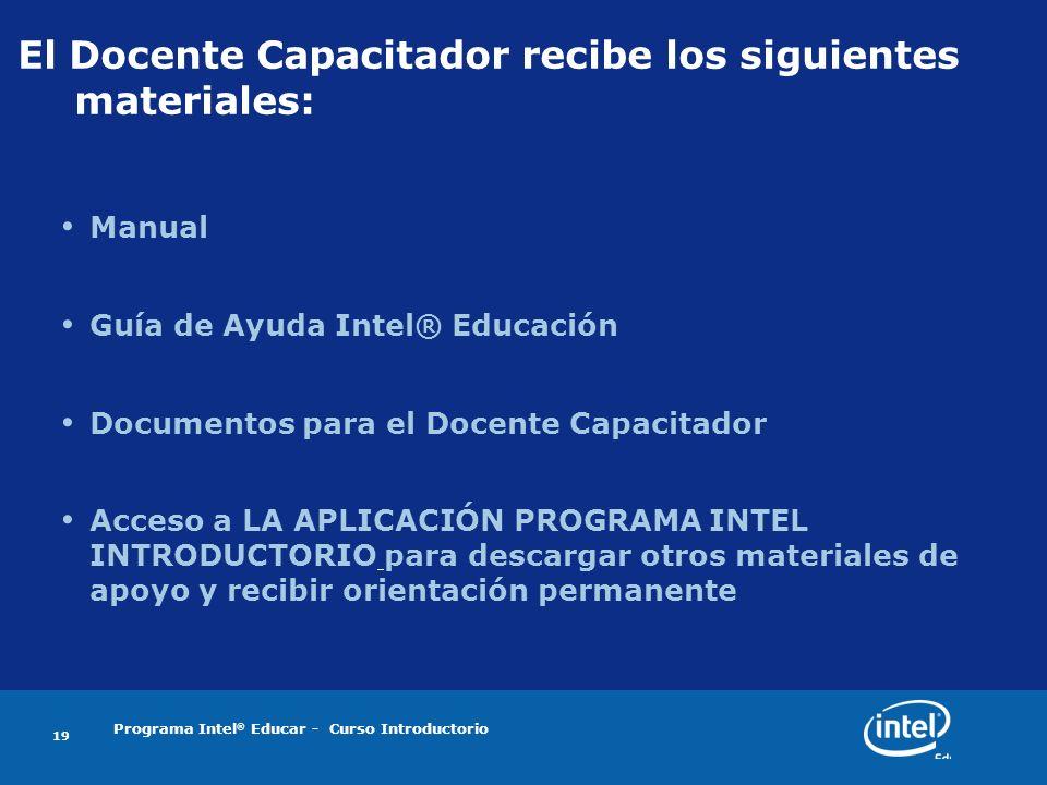 Programa Intel ® Educar - Curso Introductorio 19 El Docente Capacitador recibe los siguientes materiales: Manual Guía de Ayuda Intel® Educación Docume