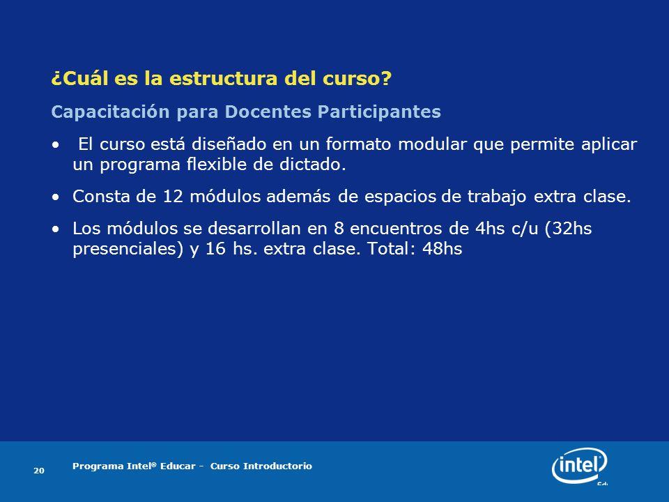 Programa Intel ® Educar - Curso Introductorio 20 ¿Cuál es la estructura del curso? Capacitación para Docentes Participantes El curso está diseñado en