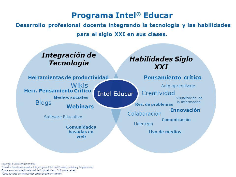 Programa Intel ® Educar Desarrollo profesional docente integrando la tecnología y las habilidades para el siglo XXI en sus clases. Herramientas de pro