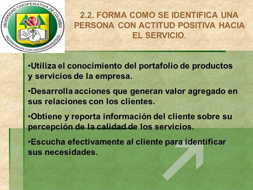 2.2. FORMA COMO SE IDENTIFICA UNA PERSONA CON ACTITUD POSITIVA HACIA EL SERVICIO. Utiliza el conocimiento del portafolio de productos y servicios de l