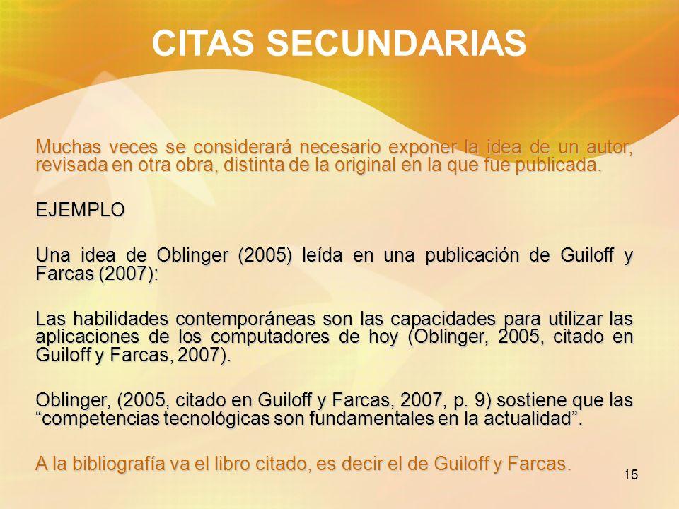 15 CITAS SECUNDARIAS Muchas veces se considerará necesario exponer la idea de un autor, revisada en otra obra, distinta de la original en la que fue p