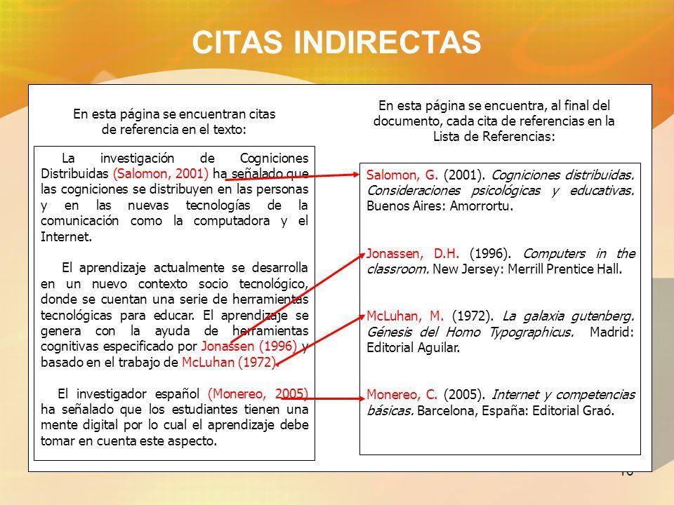 17 CITAS INDIRECTAS Citas indirectasCitas indirectas De acuerdo a Monereo (2005), estamos en la prehistoria de internet y apenas hemos inventado la rueda de esta nueva era...