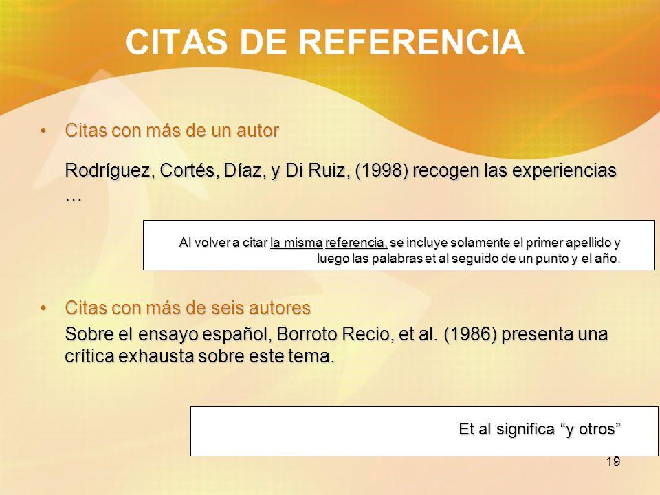 19 CITAS DE REFERENCIA Citas con más de un autorCitas con más de un autor Rodríguez, Cortés, Díaz, y Di Ruiz, (1998) recogen las experiencias … Al vol