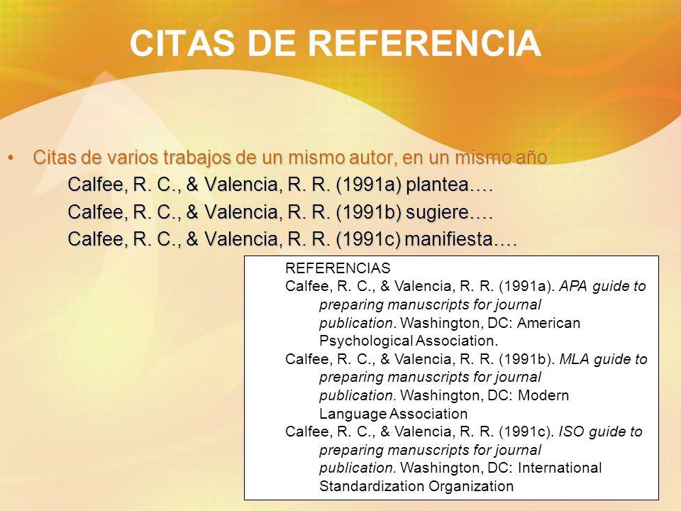20 CITAS DE REFERENCIA Citas de varios trabajos de un mismo autor, en un mismo añoCitas de varios trabajos de un mismo autor, en un mismo año Calfee,