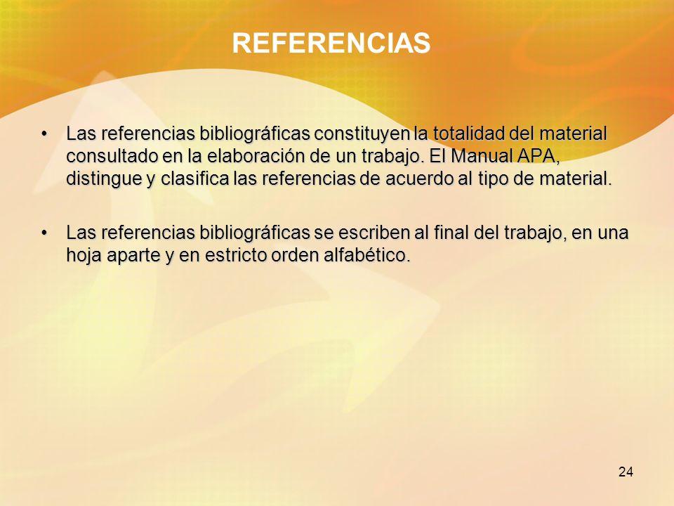 24 REFERENCIAS Las referencias bibliográficas constituyen la totalidad del material consultado en la elaboración de un trabajo. El Manual APA, disting