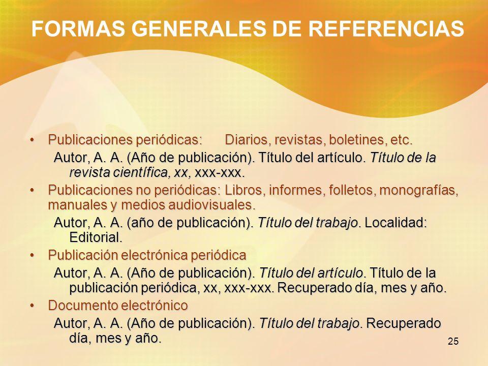 25 FORMAS GENERALES DE REFERENCIAS Publicaciones periódicas: Diarios, revistas, boletines, etc.Publicaciones periódicas: Diarios, revistas, boletines,