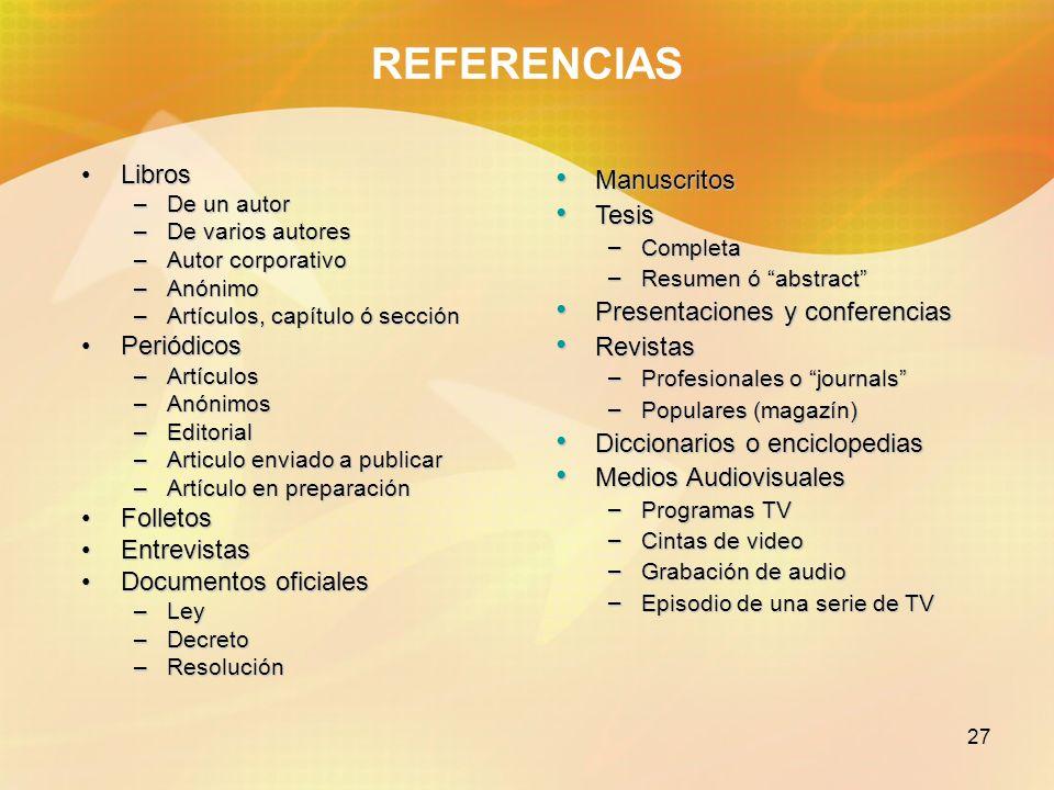 28 REFERENCIAS LIBROS Con un autorCon un autor Nagel, P.