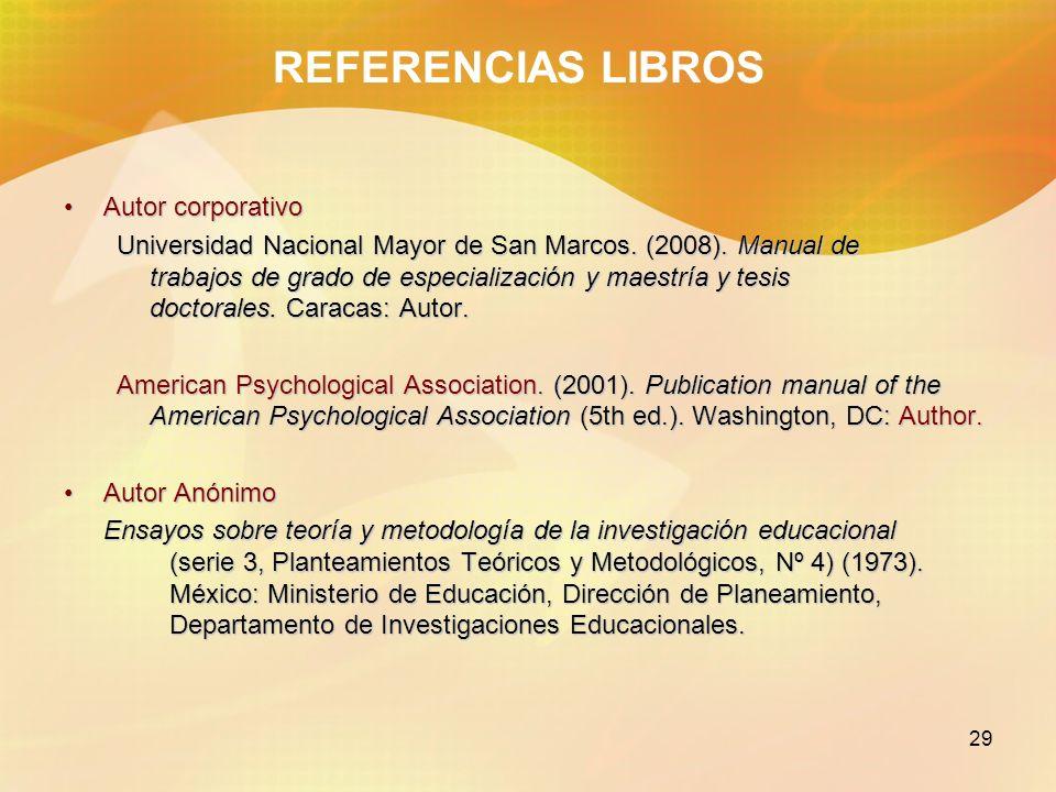 29 REFERENCIAS LIBROS Autor corporativoAutor corporativo Universidad Nacional Mayor de San Marcos. (2008). Manual de trabajos de grado de especializac