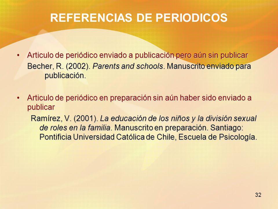 32 REFERENCIAS DE PERIODICOS Articulo de periódico enviado a publicación pero aún sin publicarArticulo de periódico enviado a publicación pero aún sin