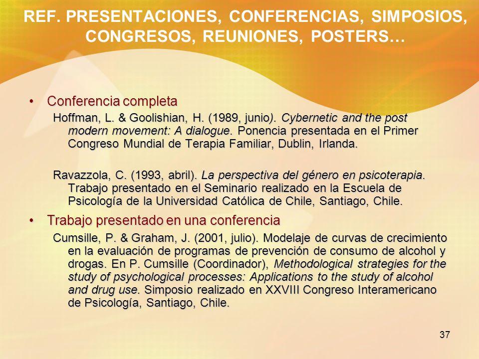 37 REF. PRESENTACIONES, CONFERENCIAS, SIMPOSIOS, CONGRESOS, REUNIONES, POSTERS… Conferencia completaConferencia completa Hoffman, L. & Goolishian, H.