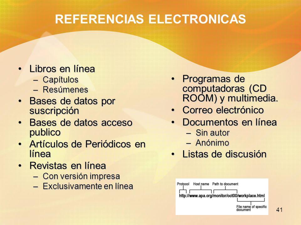 41 REFERENCIAS ELECTRONICAS Libros en líneaLibros en línea –Capítulos –Resúmenes Bases de datos por suscripciónBases de datos por suscripción Bases de