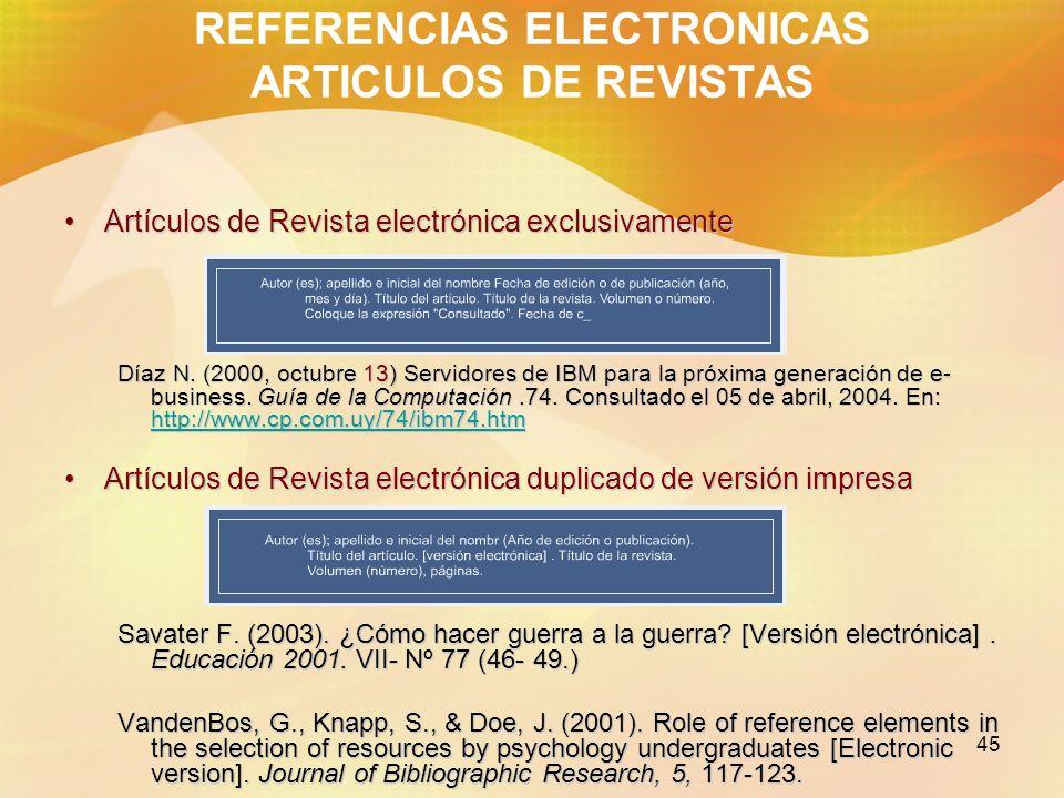 45 REFERENCIAS ELECTRONICAS ARTICULOS DE REVISTAS Artículos de Revista electrónica exclusivamenteArtículos de Revista electrónica exclusivamente Díaz