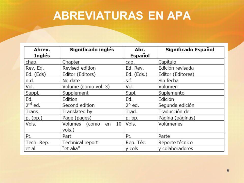 9 ABREVIATURAS EN APA