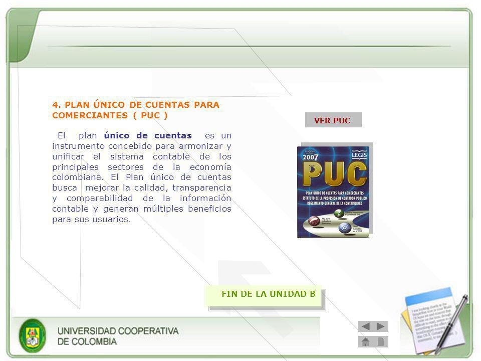 4. PLAN ÚNICO DE CUENTAS PARA COMERCIANTES ( PUC ) 7 VER PUC El plan único de cuentas es un instrumento concebido para armonizar y unificar el sistema